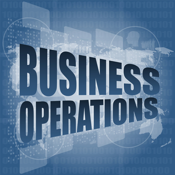business operations word on digital touch screen